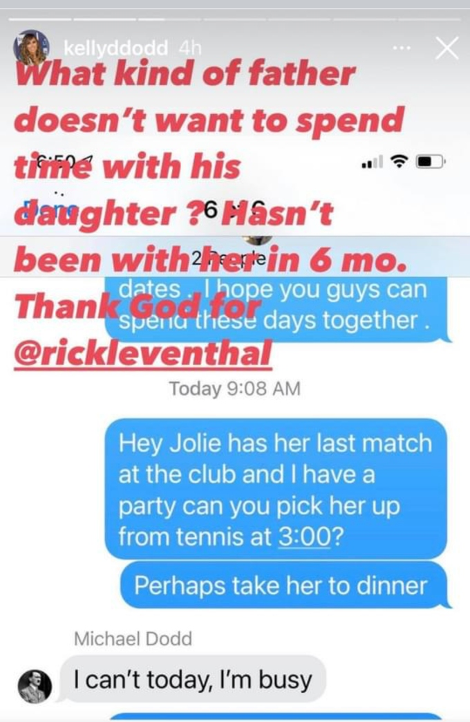 Kelly Dodd of RHOC blasts ex husband Michael Dodd and shows text message of him not wanting to spend time with their daughter Jolie