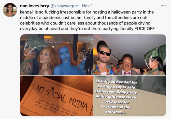 Fan calls Kendall Jenner irresponsible for Halloween party.