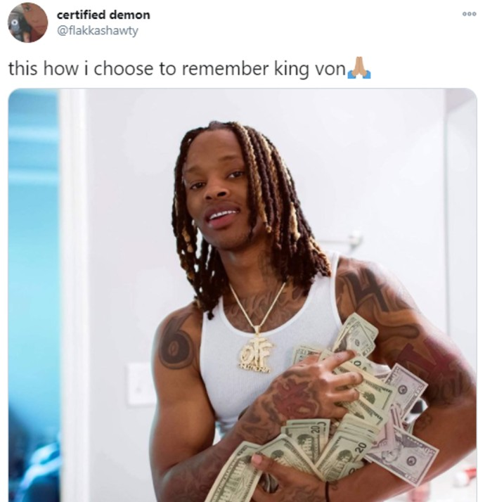 King Von pictured with pile of money