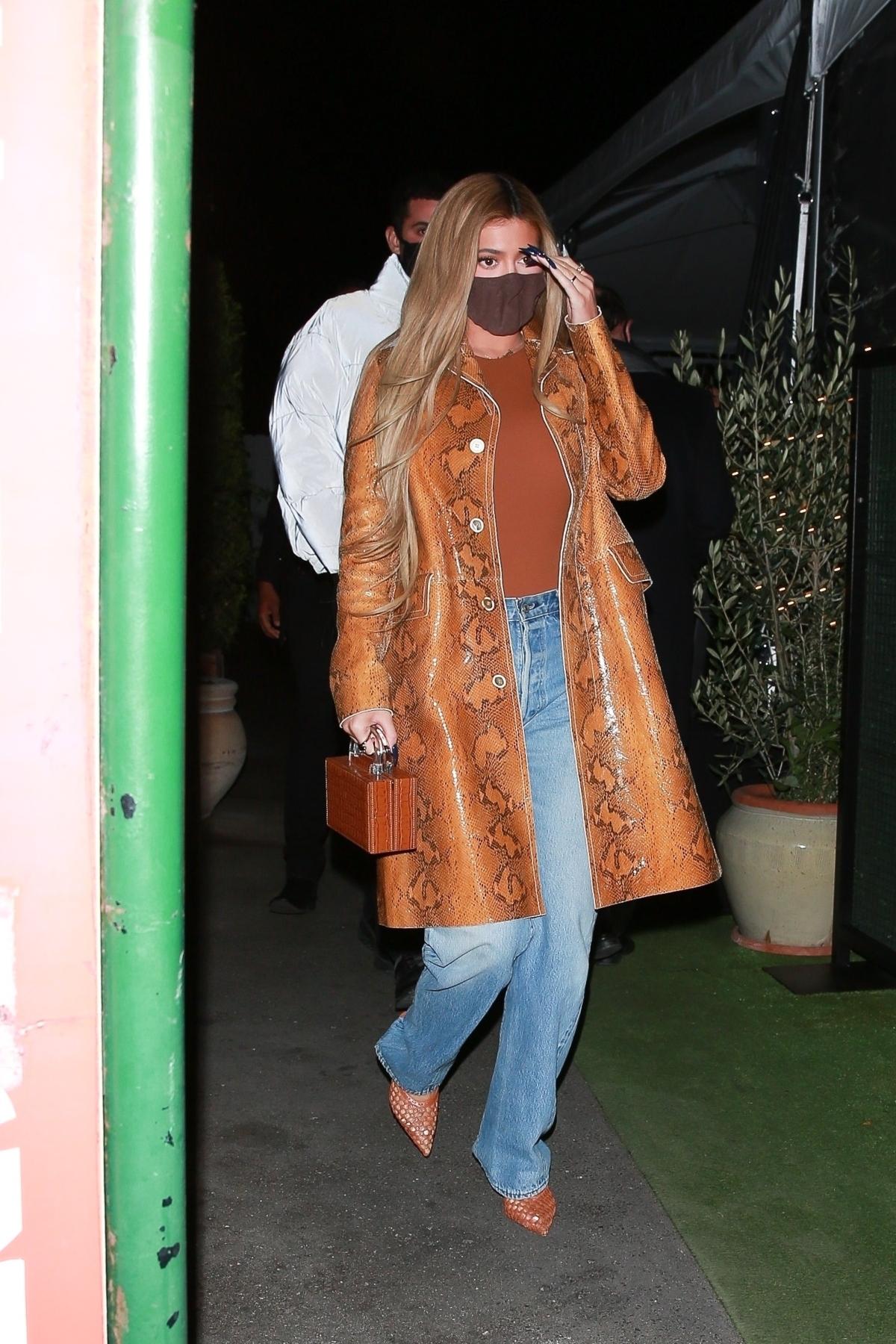 Kylie Jenner in snakeskin jacket in Santa Monica