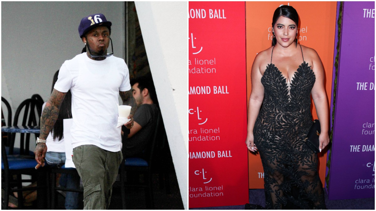 Lil Wayne pictured on the street and Denise Bidot on the red carpet