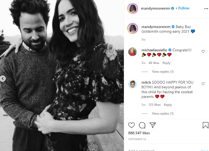 Mandy Moore Instagram announcement