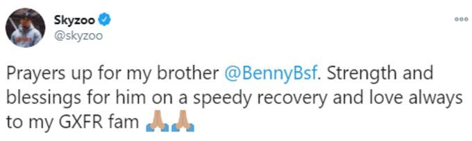 Skyzoo tweets prayers to Benny the butcher