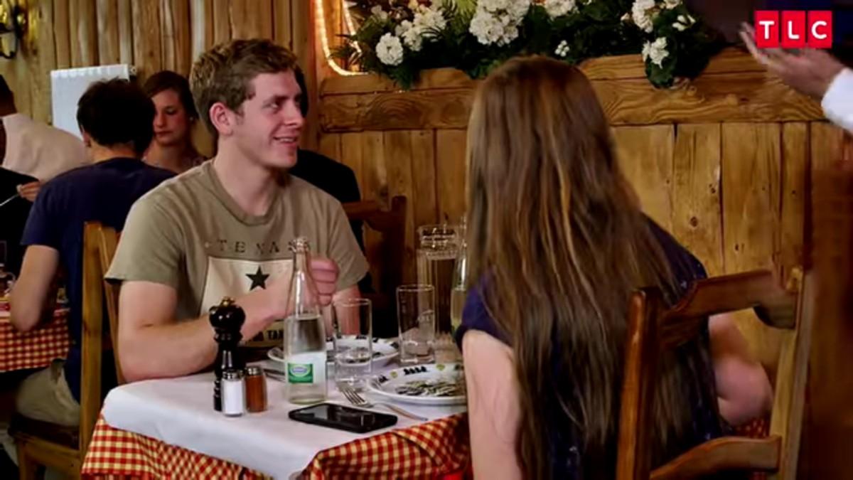 Austin and Joy having dinner in Switzerland.