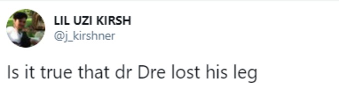 Tweeter asks if Dre has lost a leg