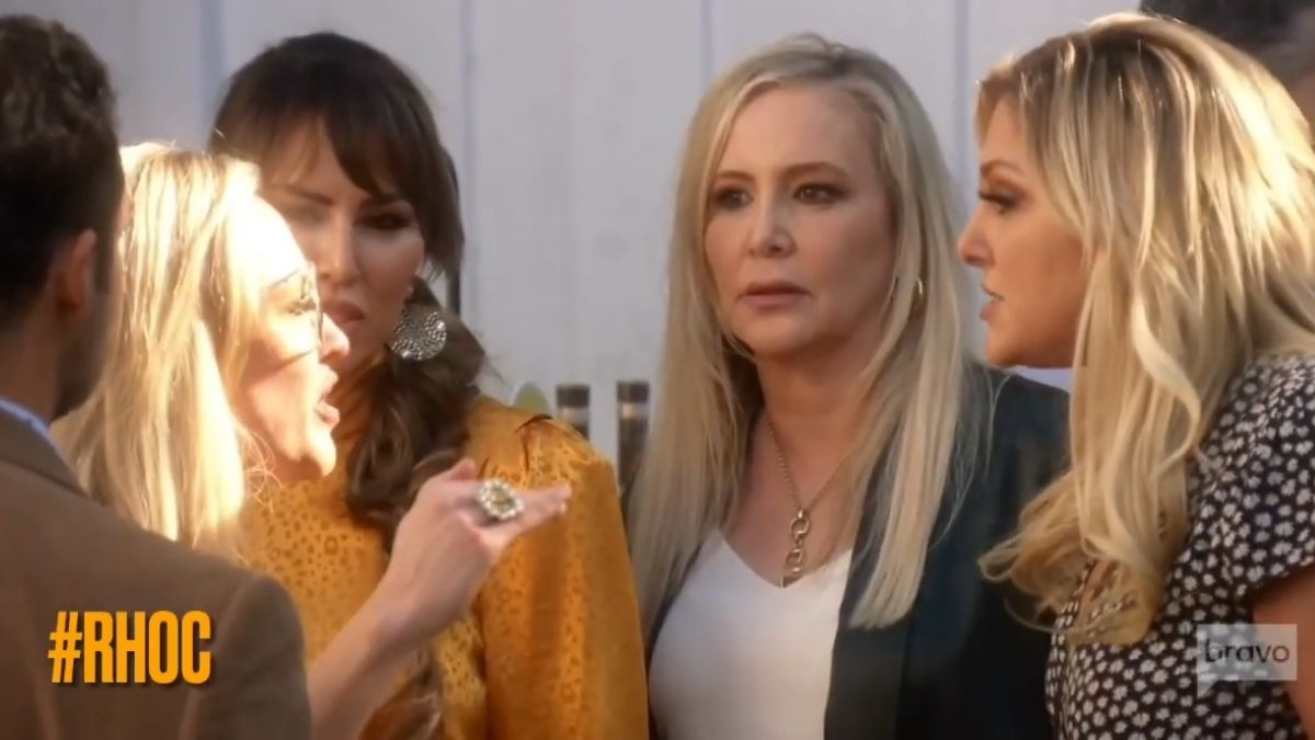 Gina Kirschenheiter during an argument with Braunwyn Windham-Burke on a recent episode of RHOC