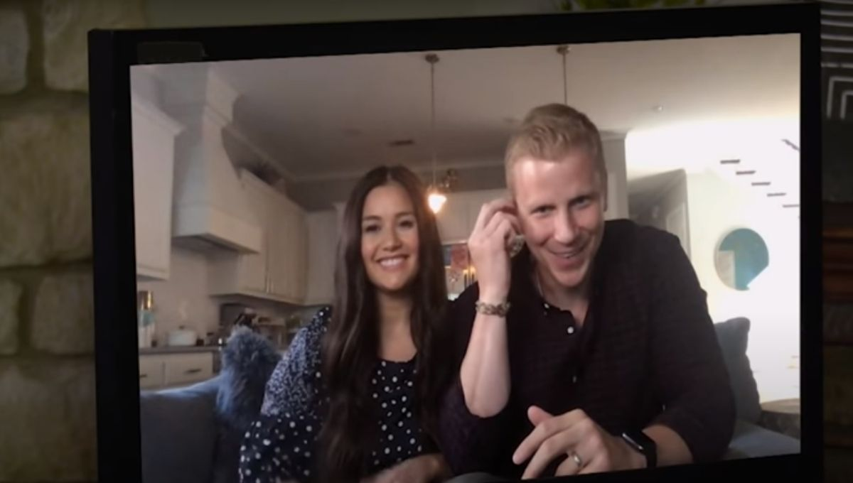 Sean Lowe and Catherine Giudici during an interview for the greatest seasons of The Bachelor