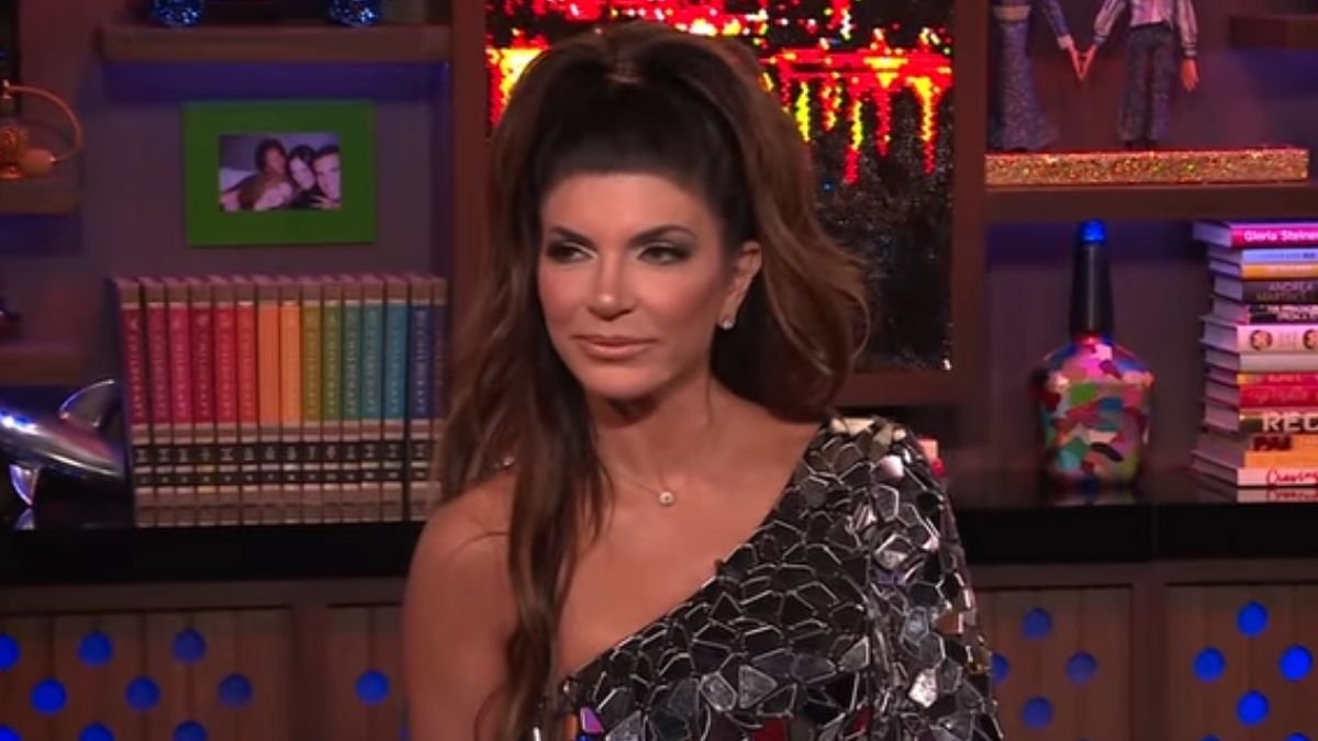 Teresa Giudice during an episode of Watch What Happens Live with Andy Cohen