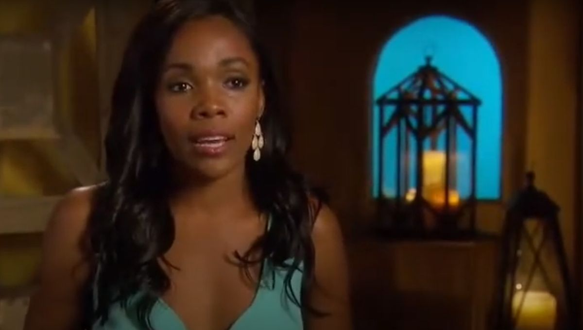 Jasmine Goode in a blue dress during a confessional
