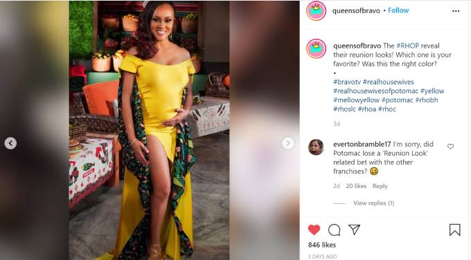 Ashley Darby wears a canary yellow dress for the RHOP reunion.