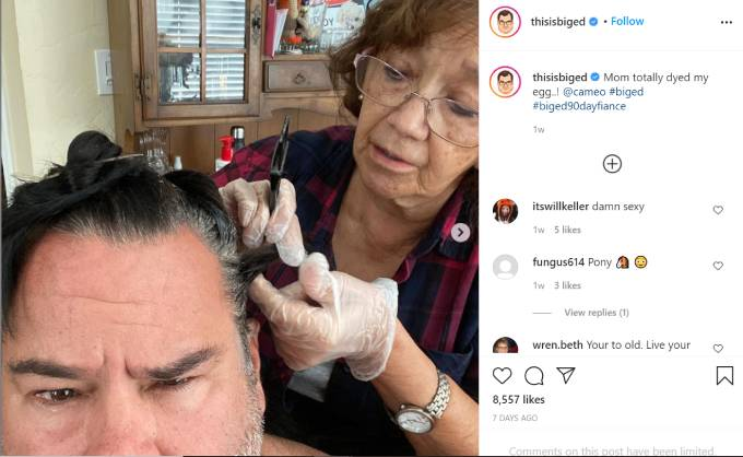 Big Ed's mom dyes his hair.