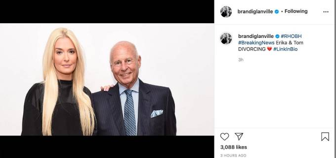 Erika Jayne and Tom Girardi pose in front of a white backdrop.