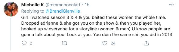 Fans comment on Brandi Glanville's LVP Twitter post.