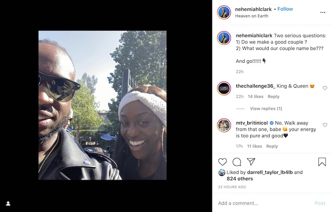 nehemiah clark of the challenge posts with davonne rogers
