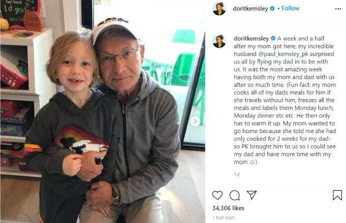 Dorit's son Jagger poses with her father.