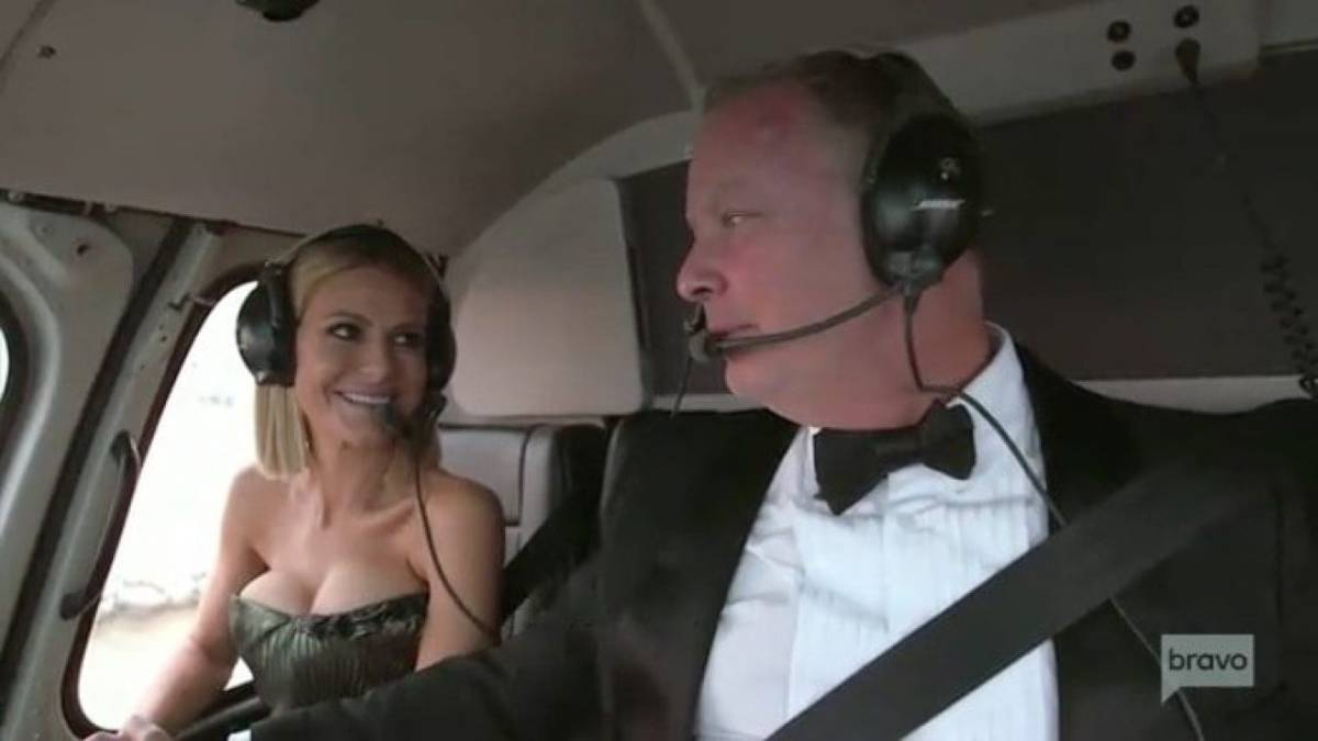 Dorit Kemsley and her husband PK fly in a helicopter.