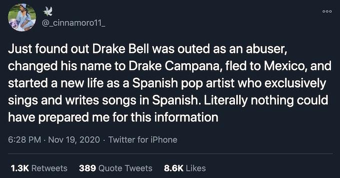 drake bell name change tweet reaction