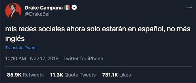 Drake Bell tweets all social media will be spanish
