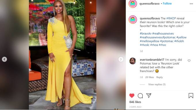 Gizelle Bryant wears a canary yellow dress for the RHOP reunion.