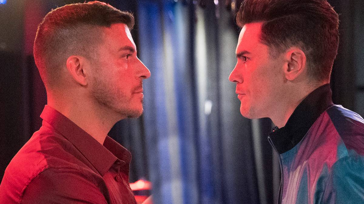 Jax Taylor and Tom Sandoval face off while filming Vanderpump Rules.