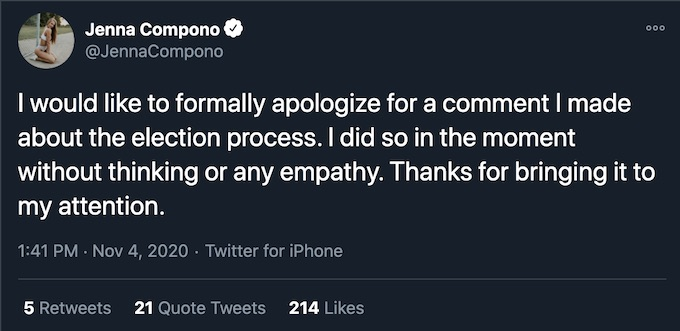 jenna twitter apology for voting comments