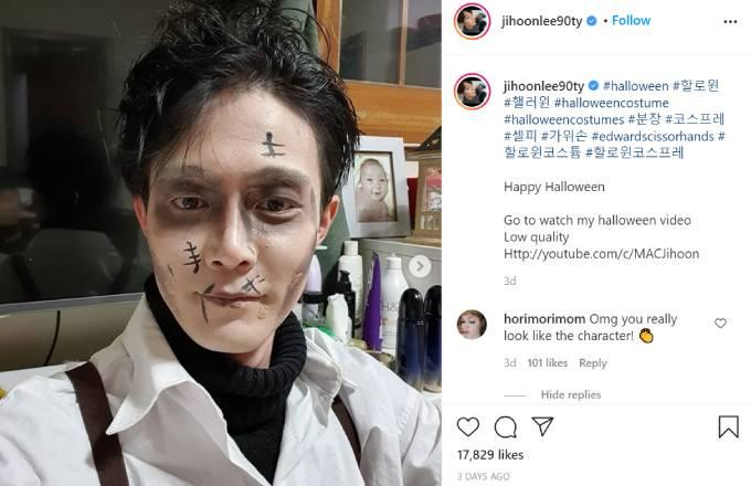 Jihoon Lee poses as Edward Scissorhands for Halloween.