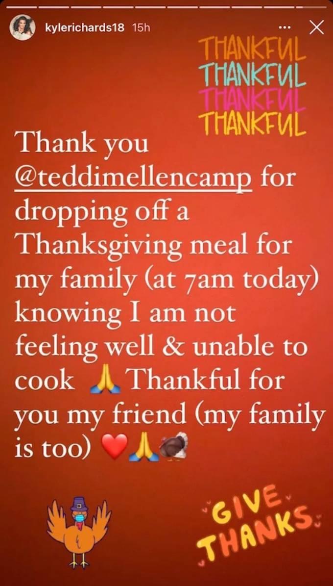 Kyle Richards thanks Teddi Mellencamp in her Instagram story