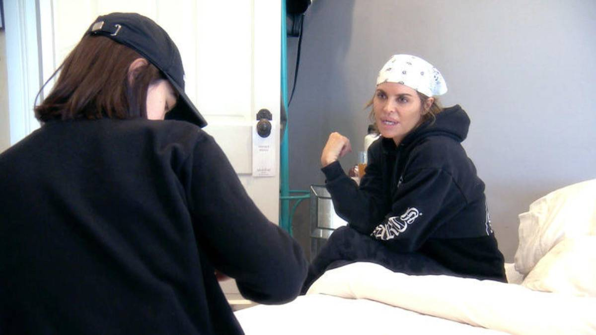 Lisa Rinna talks to her daughter Amelia Gray while filming for RHOBH.