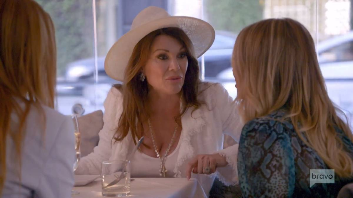 Lisa Vanderpump talks to Stassi Schroeder while filming Vanderpump Rules.