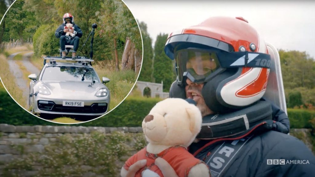 Paddy McGuinness strapped to roof of car on Top Gear