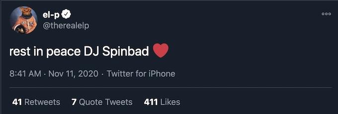 EL P tweets RIP message to Spinbad