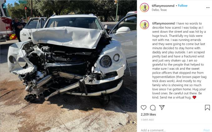 Tiffany Moon's car after an accident.