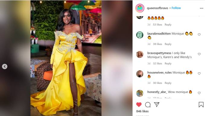 Wendy Osefo wears a canary yellow dress for the RHOP reunion.