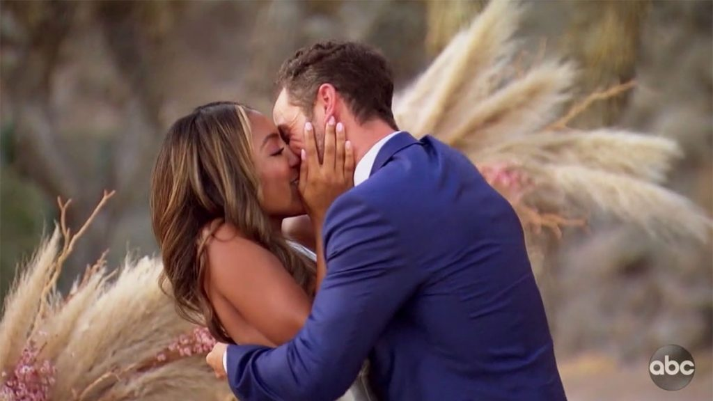 The Bachelorette Tayshia Adams kissing Zac Clark after he proposed on finale