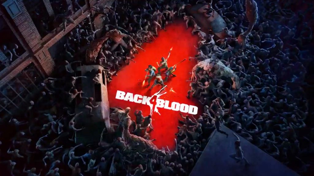 Back 4 Blood logo with image of a zombie horde