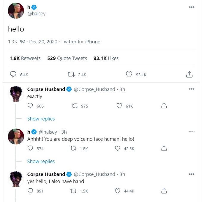 Corpse Husband and Halsey on Twitter