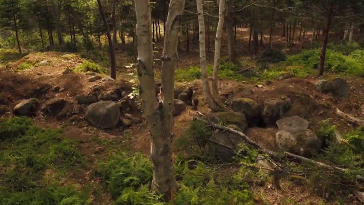 Earthen mound on Oak Island