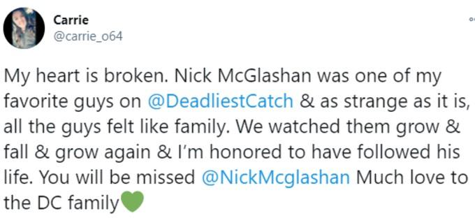 Fan pays tribute to Nick McGlashan on Twitter