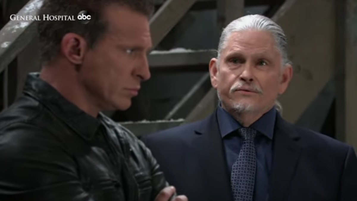Steve Burton and Jeff Kober as Jason and Cyrus on General Hospital.