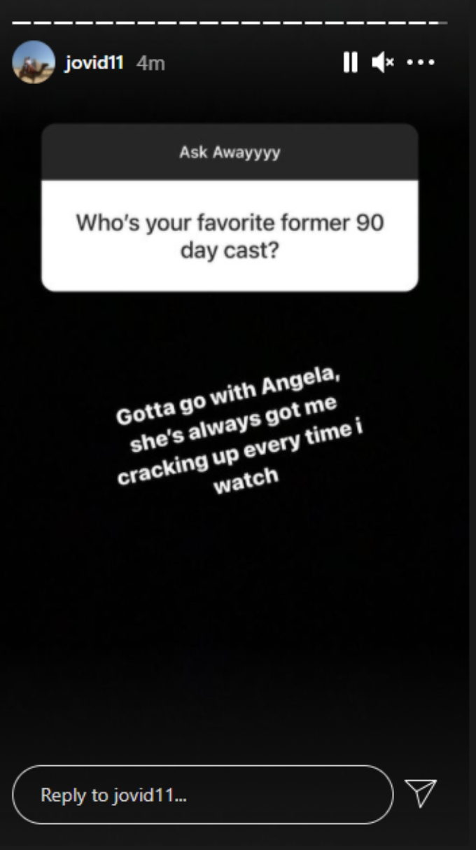 Screenshot of a fan question asking Jovi who his favorite 90 Day Fiance cast member is.