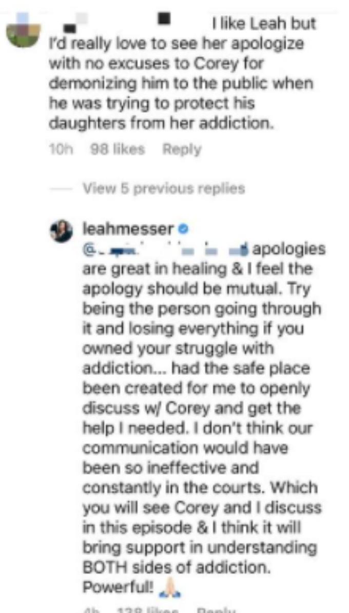 Leah Messer responds to fan on Instagram