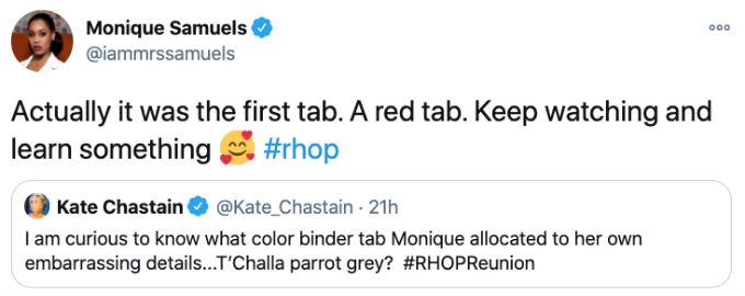 Monique responds to Kate diss Tweet