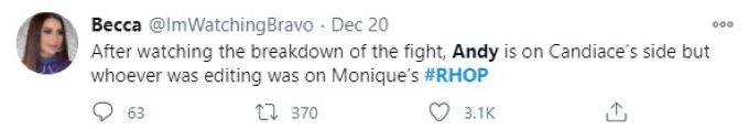 screenshot from twitter about RHOP reunion