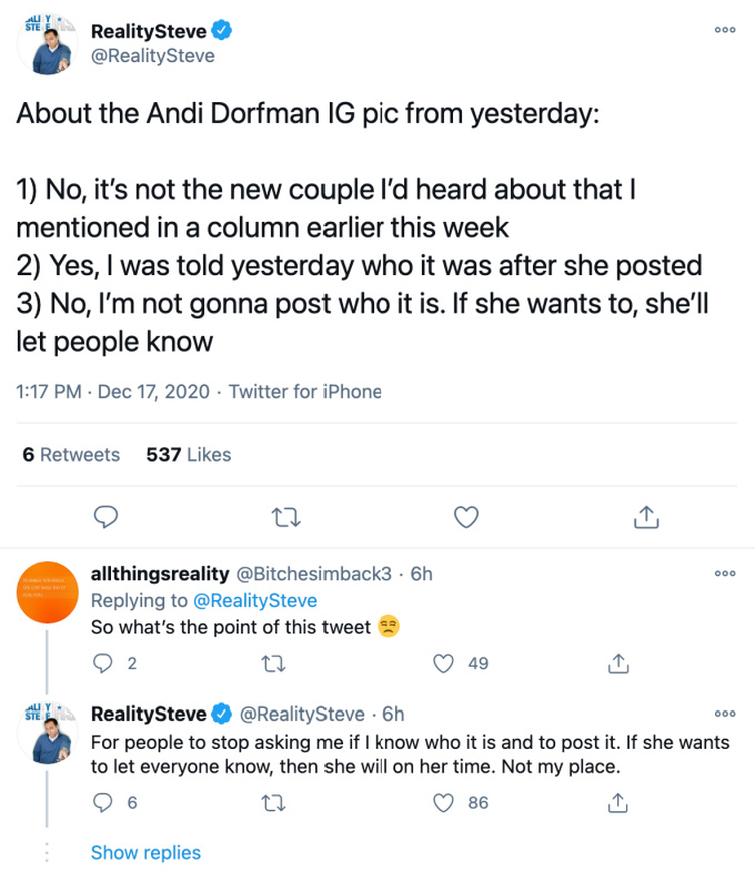 Rbi M4mlvhyulm After fans flooded the comments section with questions about her dating life, dorfman deleted the snap and cropped the man out. https www monstersandcritics com tv reality tv andi dorfmans new man is known to reality steve but he isnt dishing the details