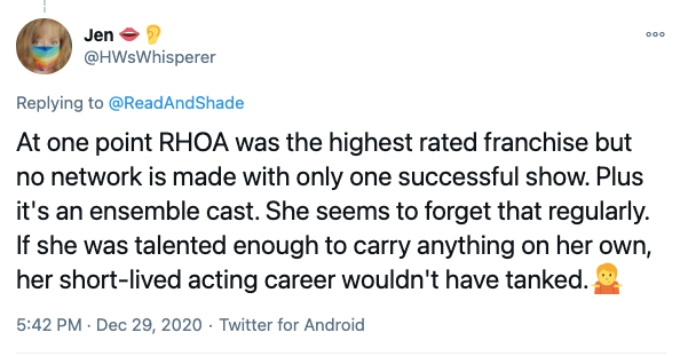 Twitter fan does not think NeNe made Bravo rich and famous