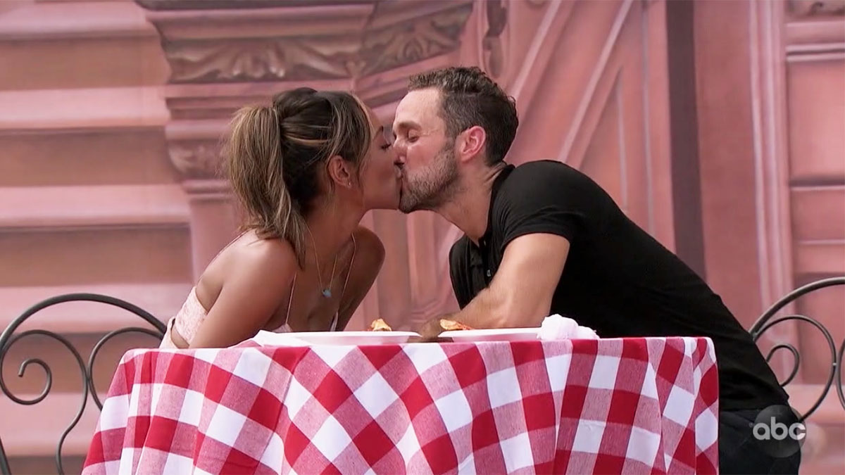 The Bachelorette Tayshia Adams kissing Zac C. on their hometown date