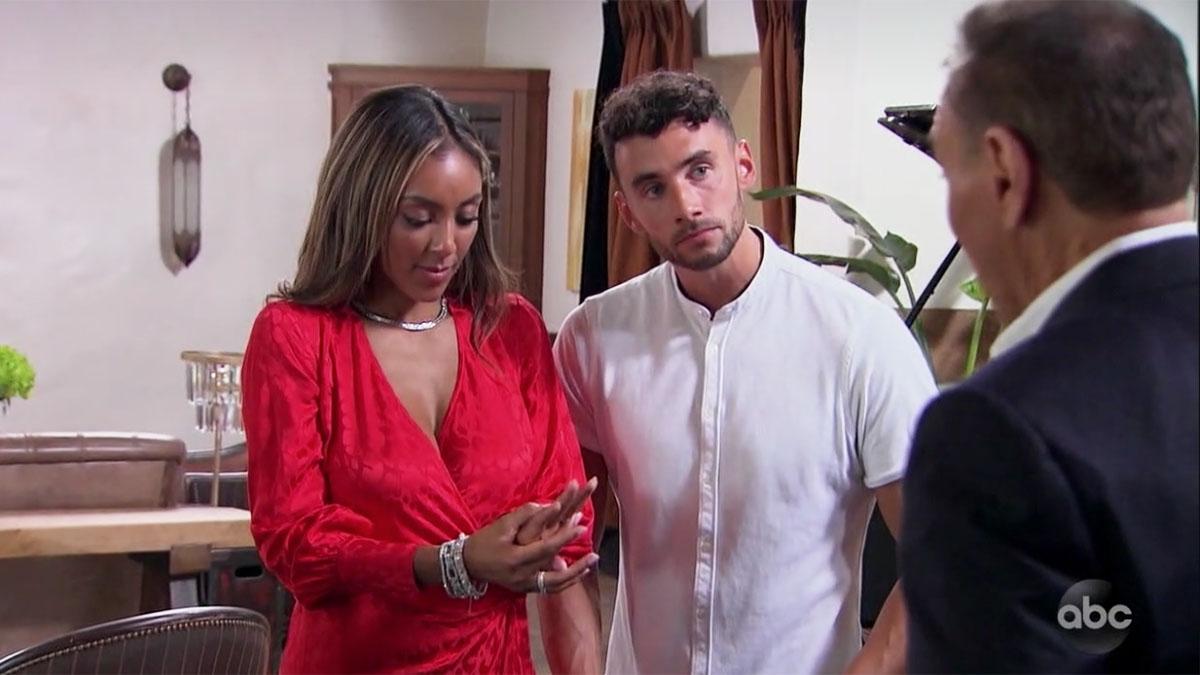 The Bachelorette Tayshia Adams and Brendan looking confused diamond shopping