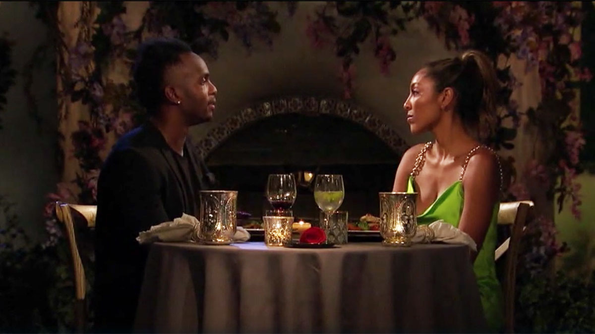The Bachelorette Tayshia Adams talking to Eazy on their dinner date