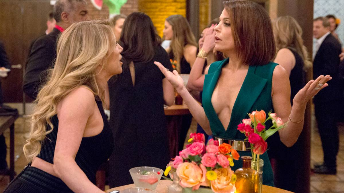 Bethenny Frankel and Ramona Singer talk while filming RHONY.
