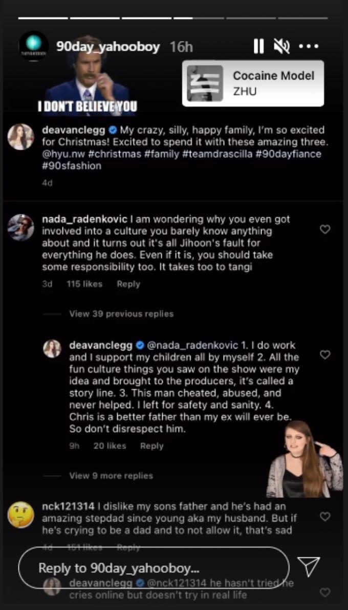 screenshot of Deavan clapping back at a follower's criticism of her.